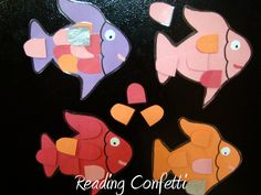 rainbow fish activity - Read book - Maybe use paint chip tints and shades to make scales