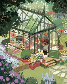 """kimdraws: """" My piece for Light Grey Art Lab's Arboretum show! Prints can be purchased from Light Grey's website. Hoping to do a few more of these greenhouse studies. There are some real stunners out. Art And Illustration, Animal Illustrations, Art Gris, Art Mignon, Grey Art, Guache, Aesthetic Art, Aesthetic Drawing, Aesthetic Grunge"""