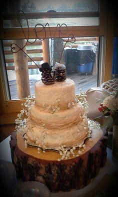 Wedding cake with pinecones