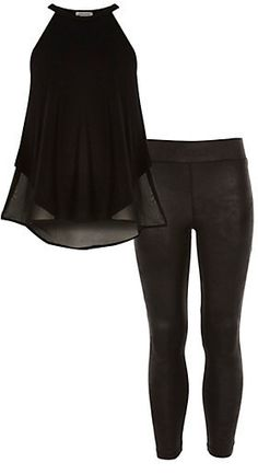 River Island Girls black chiffon back top and legging top Price:.$32.00 USD