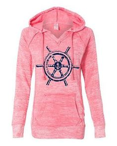 Ship Wheel Women's Burnout Deep Coral V Notch Hoodie