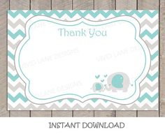 Teal and Grey Elephants Thank You Card INSTANT by VividLaneDesigns