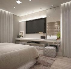 56 cool and fun bedroom tv wall design ideas 1 Bedroom Tv Wall, Home Decor Bedroom, Modern Bedroom, Bedroom Ideas, Luxury Bedroom Design, Master Bedroom Design, Interior Design, Interior Sketch, Studio Interior