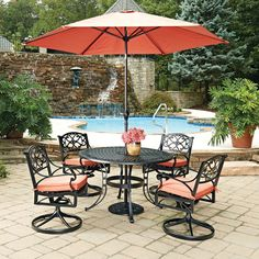 home styles athens cast aluminum 48 in 5 piece round patio dining