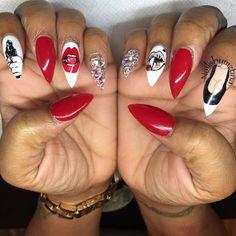 Pin by Amber McClintock on nail art in 2020 Nail Swag, Creative Nail Designs, Cute Nail Designs, Creative Nails, Dope Nails, Fun Nails, Gucci Nails, Nagel Gel, Fabulous Nails