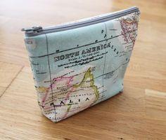 Plan B anna evers DIY Makeup bag- pattern and tutorial Diy Bags Purses, Diy Purse, Sew Bags, Makeup Bag Pattern, Diy Makeup Bag, Lip Makeup, Creation Couture, Fabric Bags, Map Fabric