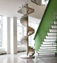 Built to half scale, the Helix spiral staircase is composed of interlocking, precast concrete pieces