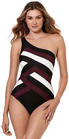 c802a7c754 Buy Miraclesuit Women's Swimwear Spectra Matrix Asymmetrical Neckline  Underwire Bra Tummy Control One Piece Swimsuit online