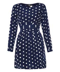Loving this Navy Polka Dot Back-Tie Dress - Women on #zulily! #zulilyfinds