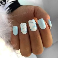 Nägel Gel funkeln 33 Examples Of Nail Designs For Short Nails To Inspire You Light Blue Nail Designs, Light Blue Nails, Marble Nail Designs, Short Nail Designs, Blue Nails With Design, Baby Blue Nails, Square Nail Designs, Nail Art Blue, Blue Gel Nails