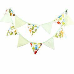 Green Cotton Bunting Flags for Baby Nursery, Owls and Giraffe Safari