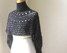 ROJO capa PONCHO ganchillo punto mantón suéter por marianavail