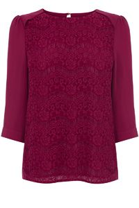 Lace Front Drape Sleeve Top