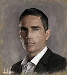 Jim Caviezel Person of interest John Reese Paintin by AhmadKadi