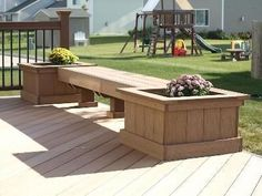 23 Awesome Built In Planter Ideas to Upgrade Your Outdoor Space (8) - CoachDecor.com Under Deck Storage, Bench With Storage, Diy Bench, Bench Seat, Deck Planter Boxes, Deck Planters, Planter Bench, Planter Ideas, Outdoor Benches