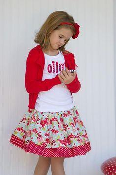 Aqua Floral Skirt - Kinder Kouture Boutique Clothing - 1