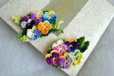 Crochet flower brooch pin pansy psnasies cotton by FlowersbyIrene, $26.00