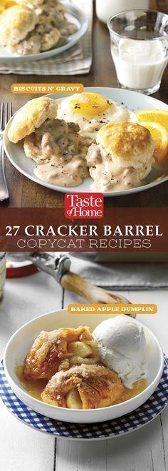 27 Cracker Barrel Copycat Recipes 27 Cracker Barrel Copycat Rezepte (von Taste of Home) Healthy Recipes, New Recipes, Baking Recipes, Favorite Recipes, Recipies, Kebab Recipes, Lunch Recipes, Yummy Recipes, Dinner Recipes