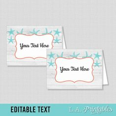 EDITABLE Food Tent Cards, Aqua and Coral Beach Editable Food Labels, Buffet Labels, Shower Place Cards, Starfish, INSTANT PRINTABLE