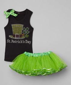 Black 'St. Patrick's Day' Tank & Green Tutu - Toddler & Girls by So Girly & Twirly #zulily #zulilyfinds