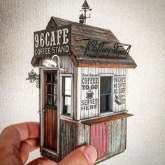 2016226 Tiny coffee house by doozy_modelworks Miniature Rooms, Miniature Crafts, Miniature Houses, Ho Trains, Model Trains, Coffee Stands, 3d Home, Tiny World, Model Train Layouts