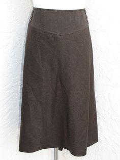 Talbots Woman Petites Plus Size 24W Brown Wool Stretch Elastic Waist Skirt | eBay