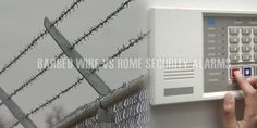 Barbed Wire Fences vs Home Security Alarms - barbed wire fence is used to keep animals out. Security alerts can be set in residential or business zones. Barbed Wire Fencing, Wire Fence, Home Security Alarm, Alarm System, Fences, Utility Pole, Safety, Picket Fences, Security Guard