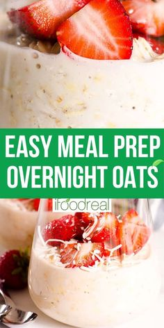 Overnight Oats is an easy Healthy Brunch, Healthy Breakfast Recipes, Healthy Snacks, Healthy Recipes, Easy Meal Prep, Healthy Meal Prep, Easy Meals, Overnight Oatmeal, Healthy Family Meals