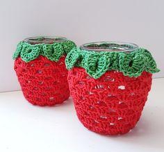 Crochet Bracelet Pattern, Crochet Gloves Pattern, Crochet Mat, Wire Crochet, Crochet Home, Crochet Patterns, Crochet Jar Covers, Wire Jewelry Patterns, Crochet Strawberry