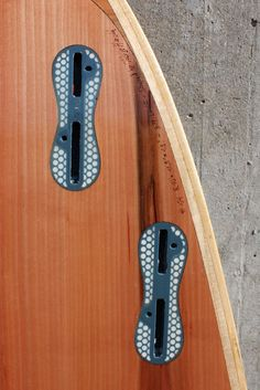 hollow wood surfboard FCS II plugs