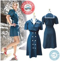 E-Pattern 1940s Sailor Girl Play Suit. Someday I'm gonna make a vintage Sailor Moon costume out of this, just you wait.
