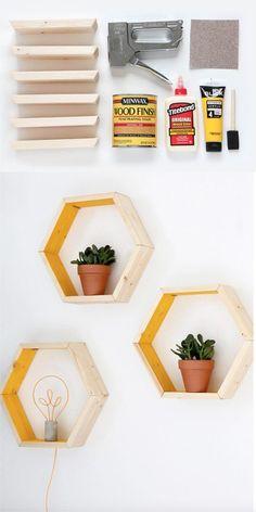 Estanterías hexagonales DIY - Vía ispydiy.com