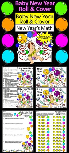 Baby New Year Roll & Cover New Year's Math Activity Packet: Give your students a fun and festive way to practice addition in series in a hands-on way. Use 3 six-sided dice and seeds, beads, or other small items as counters.   Baby New Year Roll & Cover New Year's Math Activity Includes: * Student Work Mat * Instruction Set * Student Record Sheet * Student Observation Sheet  #New #Years #Math #Activities #Teacherspayteachers