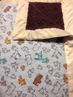 Baby animals Baby blanket with silky border! Perfect for any baby boy shower gift