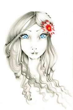 Pencil Drawing Fantasy Art Print of my Original by ABitofWhimsyArt