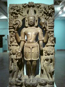 This sculpture of Vishnu is an excellent example of supreme Pala art. National Museum, Delhi.