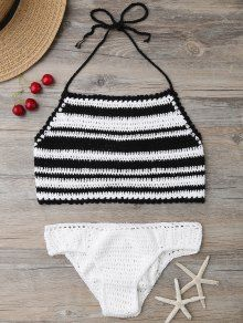High Neck Stripe Crochet Bikini Set