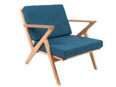 Leitmotiv - Arm chair Rest oak wood, jeans blue 81 x 70 x 70cm, polyester, sponge filling. #leitmotivfurniture #presenttime #presenttime_hq