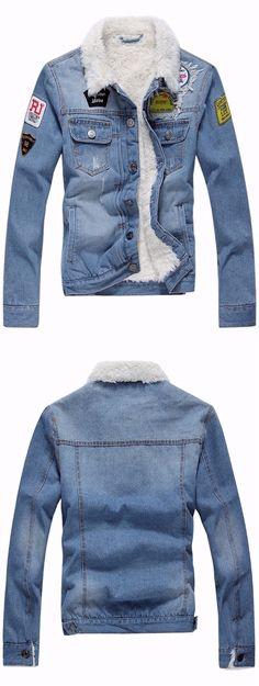 jeans jacket with fur. Mens Fashion Wear, Tomboy Fashion, Denim Jacket Men, Denim Shirt, Denim Jacket Patches, Jaket Jeans, Patched Jeans, Jean Shirts, Vintage Denim