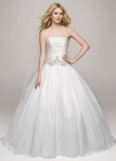 Strapless Satin Ball Gown with Beaded Accents - Wedding Dresses by David's Bridal Collection - Loverly