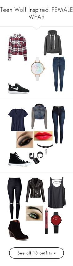 """""""Teen Wolf Inspired: FEMALE WEAR"""" by sdjohnson20034 ❤ liked on Polyvore featuring River Island, NIKE, Rails, Patagonia, Moschino, Converse, Kavu, Lucky Brand, Urban Decay and Jolie Moi"""