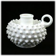 antique fenton milk glass | Fenton Milk Glass Hobnail Candle Holder 3870 MI Vintage 1960s