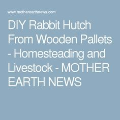 DIY Rabbit Hutch From Wooden Pallets - Homesteading and Livestock - MOTHER EARTH NEWS