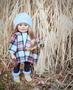 Maplelea doll Léonie collecting fall treasures Crochet Hats, Hipster, Dolls, Cute, Photos, Collection, Style, Fashion, Knitting Hats
