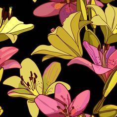 Lilies On Vintage Seamless Pattern Retro Stock Vector (Royalty Free) 1279887016 Graphic Design Portfolio Examples, Graphic Design Art, Textile Patterns, Print Patterns, Textiles, Polynesian Art, Free Vector Images, Retro Fashion, Illustrators