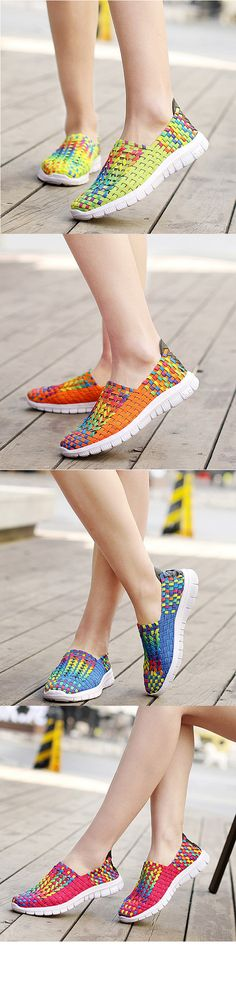 US$21.61 Colorful Woven Knitting Breathable Slip On Casual Shoes