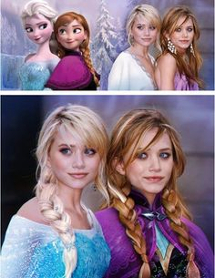 Frozen Sisters Elsa and Anna! I think Mary Kate and Ashley should look like that all of the time. Cute!