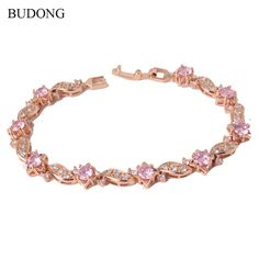 BUDONG 18cm Fashion Hand Bracelets for Women  Gold Plated Bracelet Pink Crystal Cublic Zirconia Jewelry Bangles L104     Tag a friend who would love this!     FREE Shipping Worldwide     Get it here ---> http://jewelry-steals.com/products/budong-18cm-fashion-hand-bracelets-for-women-gold-plated-bracelet-pink-crystal-cublic-zirconia-jewelry-bangles-l104/    #cute_earrings