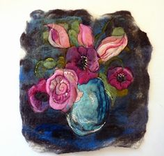 Rose picture by sesenarts, finished picture after being wet felted, machine and hand embroidered