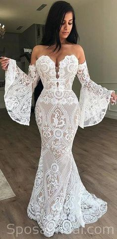 custom dresses Sexy Mermaid White Lace Long Wedding Dress with Bell Sleeve sold by custom Bridal gowns. Shop more products from custom Bridal gowns on Storenvy, the home of independent small businesses all over the world. Prom Dresses With Sleeves, Lace Evening Dresses, Wedding Dress Sleeves, Sexy Dresses, Evening Gowns, Casual Dresses, Popular Wedding Dresses, Long Wedding Dresses, Wedding Dress Styles